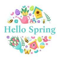 Hallo Frühlingsgrußkarte. Vogelhaus, Blumenstrauß, Gießkanne mit Blumen, Ostereier. Vektorillustration vektor