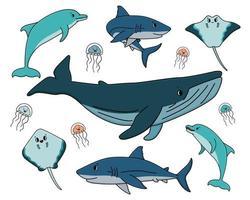 Satz Vektor Umriss Cartoon Ozean und Meer glückliche Tiere. Wal, Delphin, Hai, Stachelrochen von zwei Arten, Quallen haben Augen und Mund, sie sind isoliert, weißer Hintergrund. kann für Kinderbuch verwendet werden