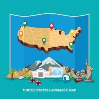 Landmark-Karte der Vereinigten Staaten vektor