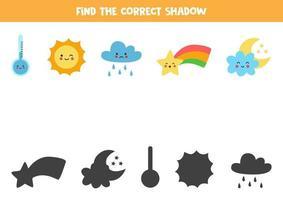 Finde den richtigen Schatten von Wetterereignissen. Spiel für Kinder. vektor