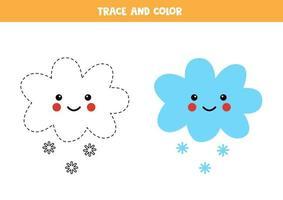 Spur und Farbe kawaii Schneewolke. Arbeitsblatt für Kinder. vektor