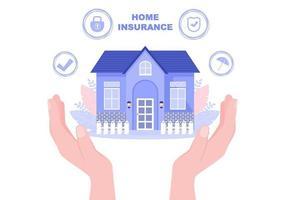 Sachversicherungskonzept für Immobilien, Heimat aus verschiedenen Situationen wie Naturkatastrophen, Feuer und andere. Vektorillustration vektor