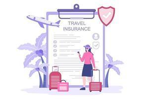 rese- och reseförsäkringskoncept för olyckor, skydda hälsa, nödrisker när du är på semester. vektor illustration