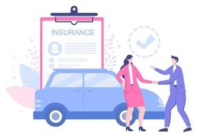 Das Kfz-Versicherungskonzept kann als Schutz für Fahrzeugschäden und Notfallrisiken eingesetzt werden. Vektorillustration vektor