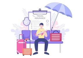 Reise- und Reiseversicherungskonzept für Unfälle, Schutz der Gesundheit, Notfallrisiken im Urlaub. Vektorillustration vektor