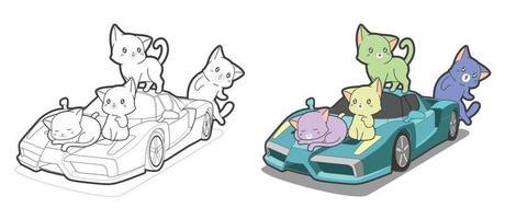 entzückende Katzen mit Superauto-Cartoon-Malvorlage für Kinder vektor