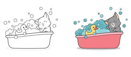 entzückende Katze badet mit ducky Cartoon Malvorlagen für Kinder vektor