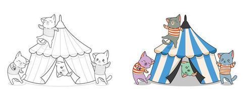 entzückende Katzen mit Zirkuskarikatur Malvorlagen für Kinder vektor