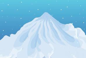 Vektorillustration der schönen schneebedeckten Berglandschaft. Sonnenaufgang und Sonnenuntergang in den Bergen. vektor