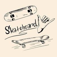 uppsättning vektorillustrationer av skateboard. vektor