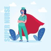 Krankenschwester weiblichen Superhelden Charakter Kap vektor
