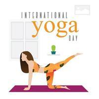 Frau, die Yoga-Haltung auf Matte übt vektor