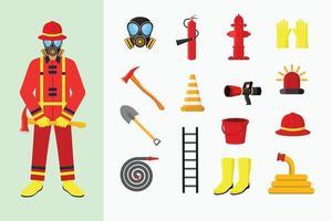 Feuerwehrmann und Ausrüstungsobjektvektorillustration vektor