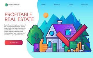 profitabler Immobiliengeschäft Landing Page Vektor