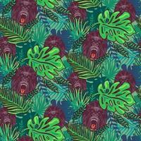 arg gorillor sömlös tapetmönster tecknad vektor