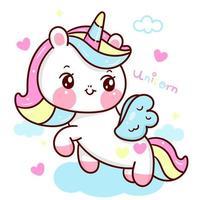 niedliche Einhornvektor Pegasus Pony Cartoon mit Pastellwolke kawaii Tiere Hintergrund für Valentinstag vektor