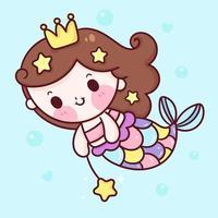 sjöjungfru prinsessa tecknad simma i havet kawaii djur serie saga vacker karaktär vektor