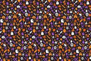 nahtloses Halloween-Muster mit Schädel, Fledermaus, Geistern vektor
