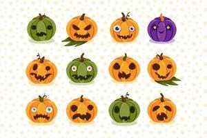 Satz von gruseligen Kürbissen, Halloween-Feiertagssymbole vektor