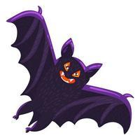 gruselige Feiertagssymbolikone der Fledermauskarikatur Halloween vektor