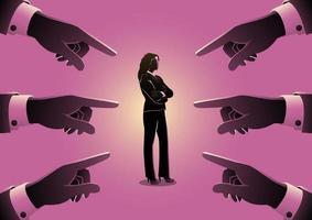 Geschäftsfrau, auf die mit riesigen Fingern gezeigt wird vektor