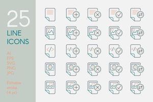 dokument och filer färg linjär ikoner set vektor