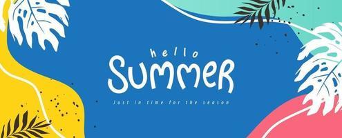 bunte Sommerhintergrundlayout-Bannerentwurf. horizontales Plakat, Grußkarte, Kopfzeile für Website vektor