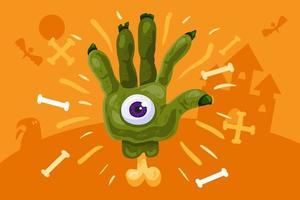 beängstigender Halloween-Hintergrund mit grüner Zombiehand vektor