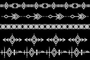 Satz von Vektormusterbürsten. ethnisches Muster. Erstellen Sie Rahmen, Rahmen, Trennwände. handgezeichnete Schablonen-Gestaltungselemente. Vektorillustration. vektor