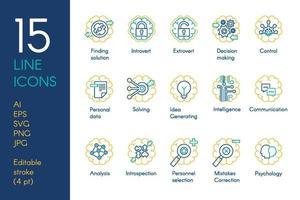 uppsättning ikoner för hjärna och mental aktivitet tunn linje vektor