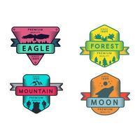 wilder Adler und Berg, Mond und Wald setzen Logo vektor