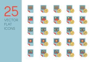 dokument och filer platt vektor ikoner set