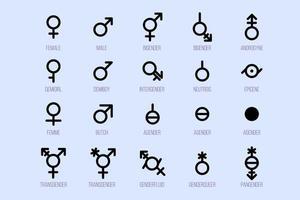 uppsättning könssymboler. sexuell läggning tecken vektor