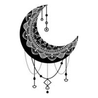 handgezeichneter Mond mit Blumen, Mandalas und Paisley vektor