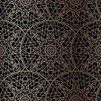 Gold Luxus Kunst Mandala Boho nahtloses Muster vektor