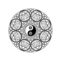 Yin-Yang-Symbol im östlichen geometrischen Muster vektor