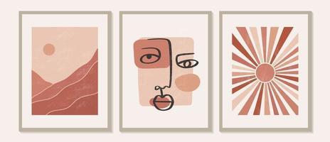 trendig samtida uppsättning abstrakta kreativa geometriska, minimalistiska, konstnärliga, handmålade bergslandskapskomposition, sol och ansikte. vektor affischer för väggdekor i vintage stil