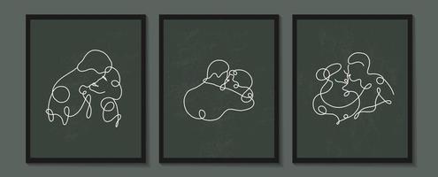 ställa in linjära älskare affischer. kontinuerlig linjär silhuett av människor. disposition hand dras av avatarer. linjär logotyp i minimal stil för skönhetssalong, makeupartist, stylist vektor