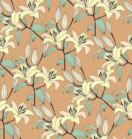 nahtloses Blumenmuster. Blumengelber Lilienstrauß stilvoller gezeichneter Hintergrund. florale nahtlose Textur mit Blumen. vektor