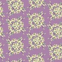 nahtloses Blumenmuster. Blumengelblilienstraußpastellpastellvioletthintergrund. florale nahtlose Textur mit Blumen. gedeihen pastell dekorative geflieste Tapete vektor