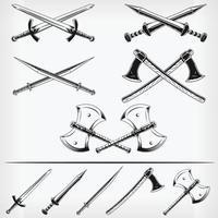 mittelalterliche Waffe gekreuzte Schwertaxt-Schablonenvektor-Zeichnungssatz der Silhouette vektor