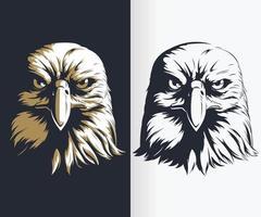 silhuett örn huvud främre stencil ritning vektor illustration set