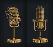 Silhouette klassisches Gold Retro Mikrofon Schablone Logo Vektor Zeichnungssatz