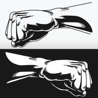 Silhouette Faust geballte Kämpfer Punsch Schablone Bodybuilder Schablone vektor