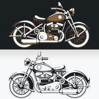 Silhouette Vintage Biker Motorrad Seitenansicht alten Fahrer Vektor Zeichnungssatz