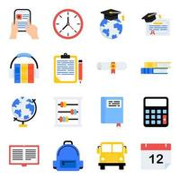 paket med skola och utbildning platt ikoner vektor