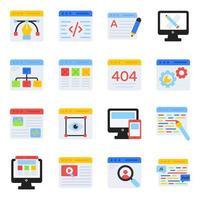 förpackning med webbdesign platta ikoner vektor