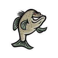 Crappie Fisch stehendes Maskottchen vektor