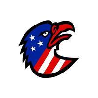 Adlerkopf mit Maskottchen der amerikanischen Flagge vektor