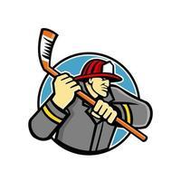 Feuerwehrmann Eishockeyspieler Maskottchen vektor